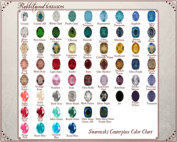 CENTERPIECE STONE CHART: Please choose your preferred color from the color chart and locate it in the centerpiece drop-down box in this product listing.