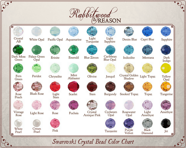 CRYSTAL BEAD COLOR CHART: Please choose your preferred color from the crystal bead color chart and locate it in the 'pearl or crystal bead' drop-down box in this product listing.