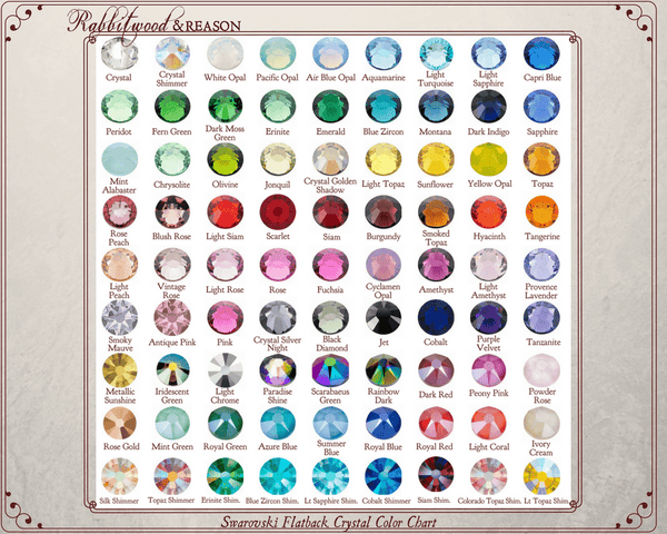 Please choose your preferred Swarovski© crystal color from the color chart and locate it in the drop-down box in this product listing.