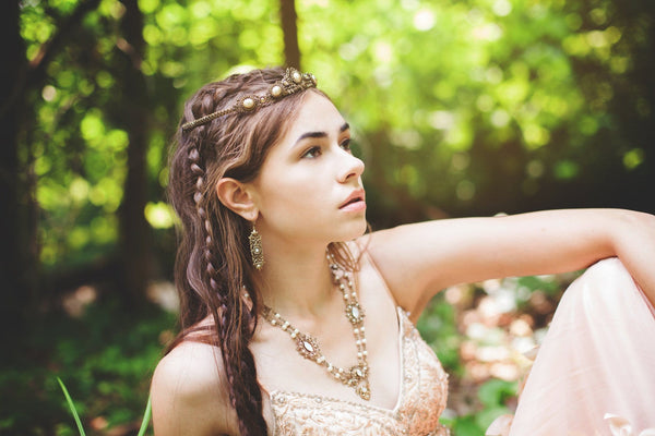 Lucia Tiara - Cream Pearl with Metallic Sunshine Crystals - Antiqued Brass - Rabbitwood & Reason - Photo: La Candella Weddings