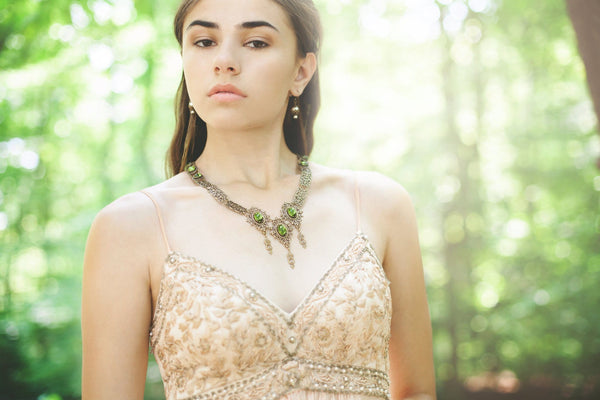 Chateau Necklace - Olivine - Antiqued Brass - Rabbitwood & Reason - photo: La Candella Weddings