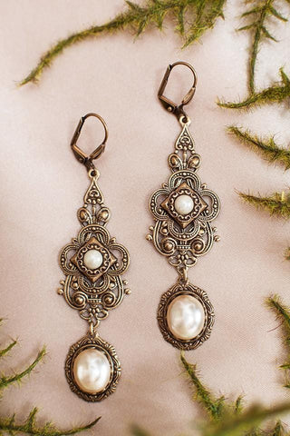 Avalon Earrings in Cream Pearl - Antiqued Brass by dosha of Rabbitwood & Reason