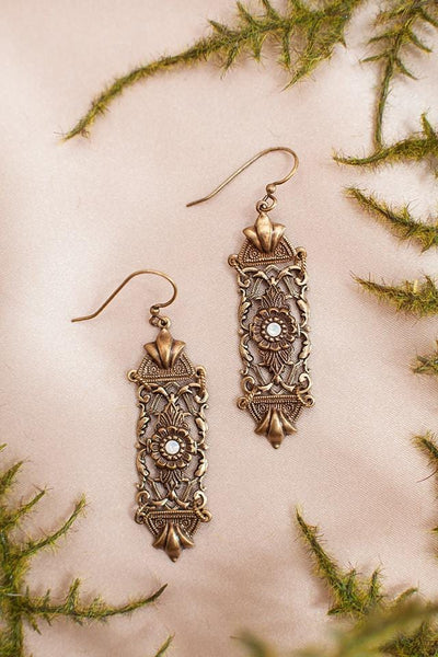 Florentine Earrings - Antiqued Brass