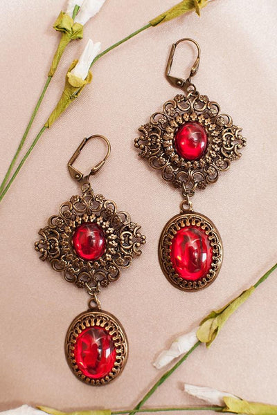 Lucia Earrings - Ruby - Antiqued Brass - Rabbitwood & Reason