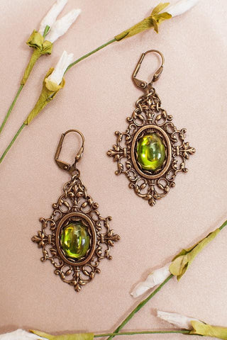 Chateau Earrings - Antiqued Brass
