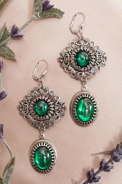 Lucia Earrings - Emerald - Antiqued Silver - Rabbitwood & Reason