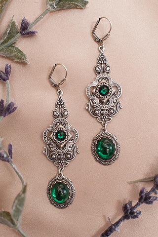 Avalon Earrings in Emerald - Antiqued Silver by dosha of Rabbitwood & Reason