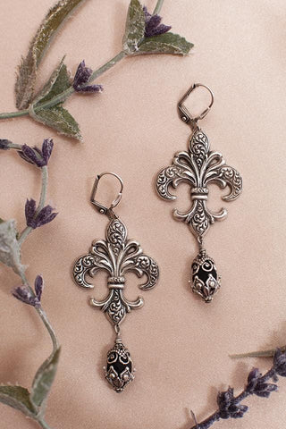 Fleur Earrings - Jet - Antiqued Silver - Rabbitwood & Reason