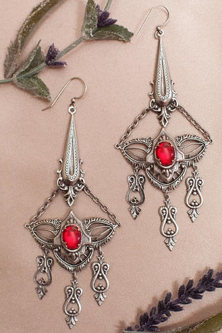 Millicent Chandelier Earrings - Ruby - Antiqued Silver - Rabbitwood & Reason