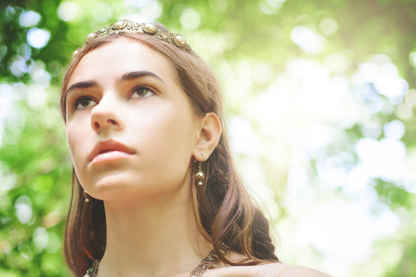 Rhiannon Earrings Antiqued Brass - Cream Pearl - Rabbitwood & Reason - Photo by La Candella Weddings