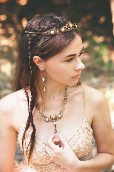 Valkyrie Necklace - White Opal - Antiqued Brass - Rabbitwood & Reason - Photo: La Candella Weddings