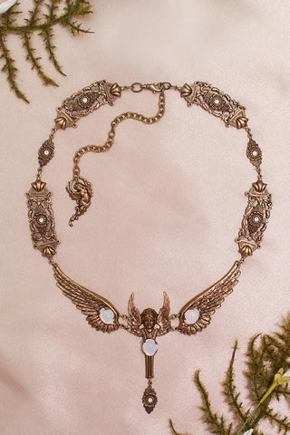 Valkyrie Necklace - White Opal - Antiqued Brass - Rabbitwood & Reason