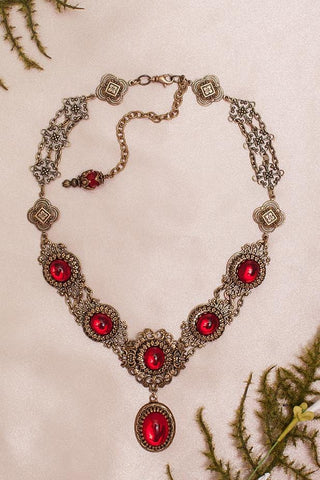 Lucia Necklace - Ruby - Antiqued Brass - Rabbitwood & Reason