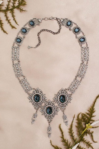 Chateau Necklace - Twilight Blue - Antiqued Silver - Rabbitwood & Reason
