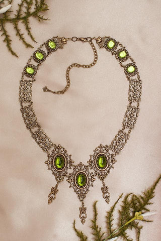 Chateau Necklace - Olivine - Antiqued Brass - Rabbitwood & Reason