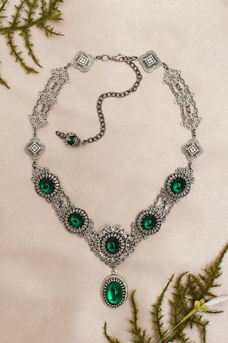 Lucia Necklace - Emerald - Antiqued Silver - Rabbitwood & Reason