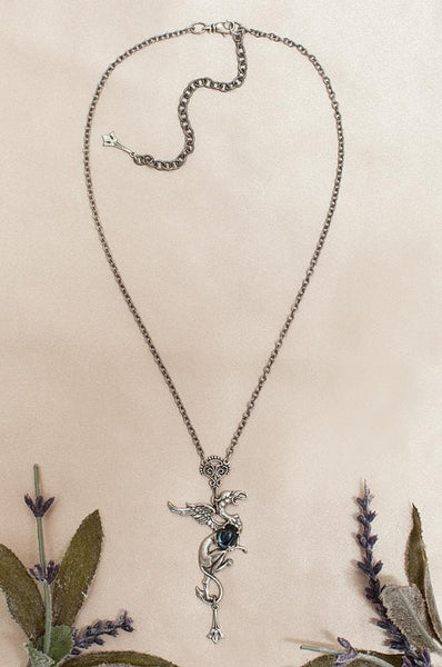 Gryphon Pendant Necklace - Twilight Blue - Antiqued Silver - Rabbitwood & Reason