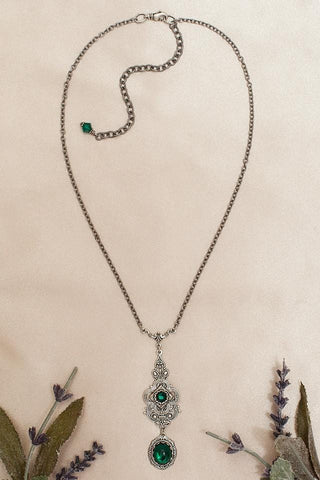 Avalon Pendant Necklace Antiqued Silver - Emerald - Rabbitwood & Reason - Photo by La Candella Weddings