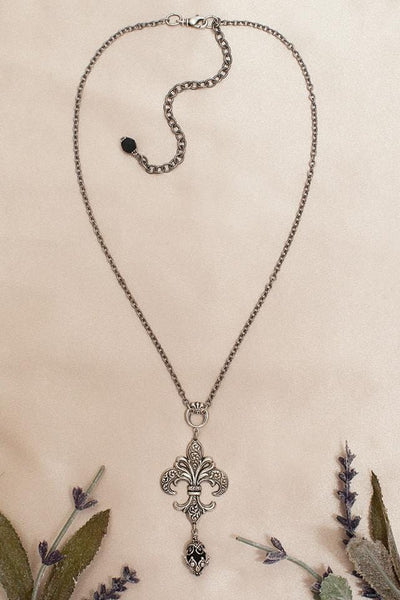Fleur Pendant Necklace - Antiqued Silver - Rabbitwood & Reason