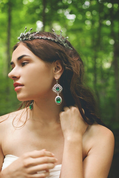 Lucia Earrings - Emerald - Antiqued Silver - Rabbitwood & Reason - Photo: La Candella Weddings
