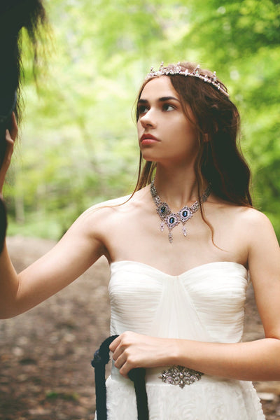 Chateau Necklace - Twilight Blue - Antiqued Silver - Rabbitwood & Reason - photo: La Candella Weddings