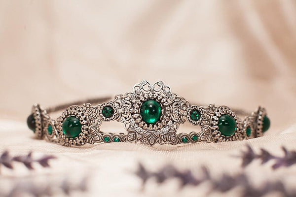Lucia Tiara - Emerald - Antiqued Silver - Rabbitwood & Reason