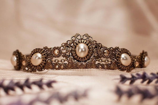 Lucia Tiara - Cream Pearl with Metallic Sunshine Crystals - Antiqued Brass - Rabbitwood & Reason