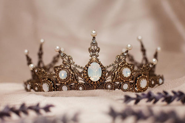 Avalon Tiara - Pearl Color: Cream - Centerpiece Stone: White Opal - Accent Crystals: Crystal - Antiqued Brass - by dosha of Rabbitwood & Reason