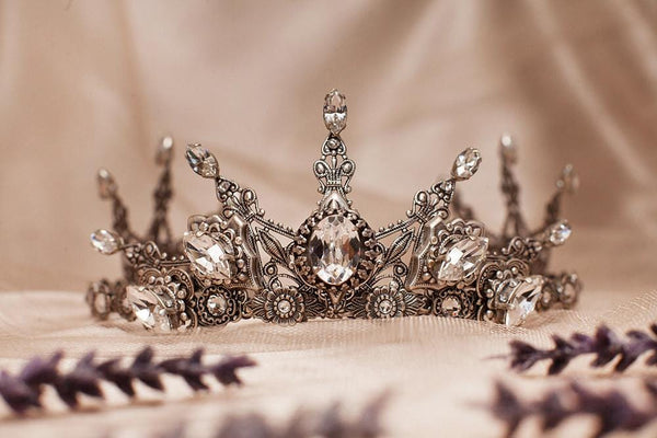 Avalon Tiara - Centerpiece: Crystal; Pointed Navettes: Crystal; Accent Stones: Crystal - Antiqued Silver by dosha of Rabbitwood & Reason