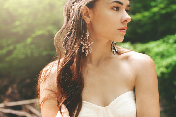 Millicent Chandelier Earrings - Ruby - Antiqued Silver - Rabbitwood & Reason - Photo: La Candella Weddings