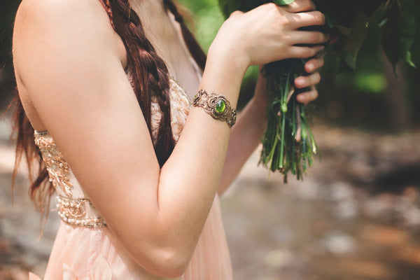 Canterbury Bracelet Antiqued Brass - Olivine - Rabbitwood & Reason - Photo by La Candella Weddings