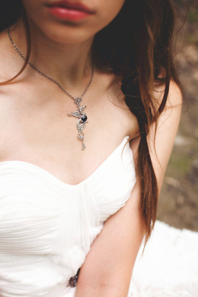 Gryphon Pendant Necklace - Twilight Blue - Antiqued Silver - Rabbitwood & Reason - Photo: La Candella Weddings