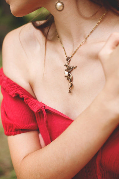 Gryphon Pendant Necklace - Antiqued Brass