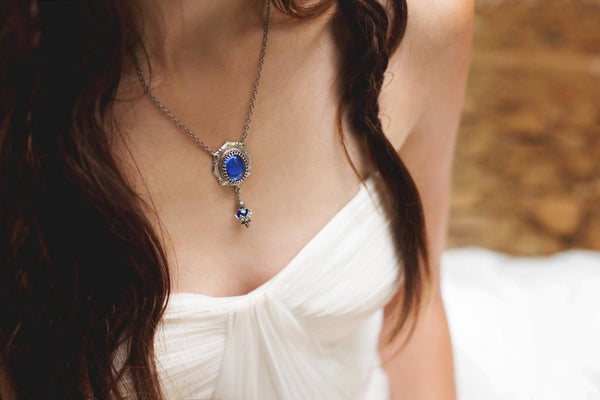 Medieval Pendant Necklace Antiqued Silver - Sapphire - Rabbitwood & Reason - Photo by La Candella Weddings