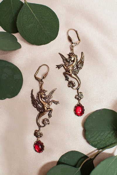 Poseidon's Steed Earrings - Ruby - Antiqued Brass - Rabbitwood & Reason