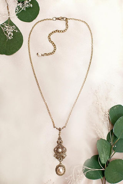 Avalon Pendant Necklace Antiqued Brass - Cream Pearl - Rabbitwood & Reason - Photo by La Candella Weddings