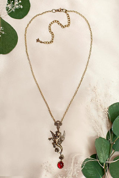 Poseidon's Steed Pendant Necklace - Ruby - Antiqued Brass - Rabbitwood & Reason