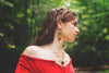 Medieval Pendant Necklace Antiqued Brass - Ruby - Rabbitwood & Reason - Photo by La Candella Weddings