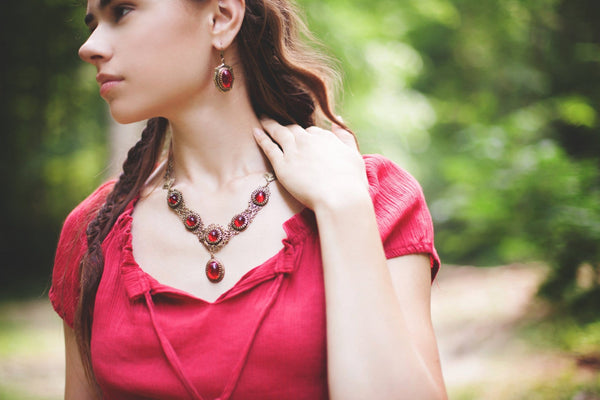 Medieval Earrings Antiqued Brass - Ruby - Rabbitwood & Reason - Photo by La Candella Weddings