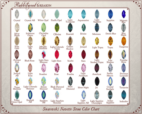 POINTED NAVETTE STONE CHART: Please choose your preferred color from the color chart and locate it in the pointed navette stone drop-down box in this product listing.