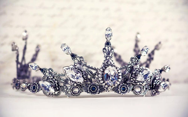 Avalon Tiara - Centerpiece: Crystal; Pointed Navettes: Crystal; Accent Stones: Montana - Antiqued Silver by dosha of Rabbitwood & Reason