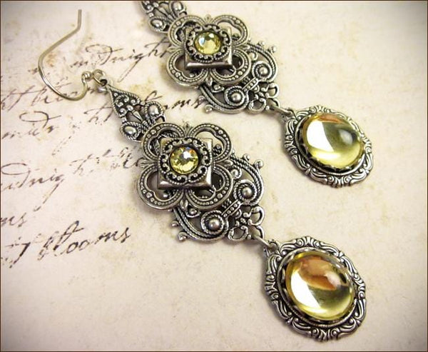 Avalon Earrings in Jonquil - Antiqued Silver by dosha of Rabbitwood & Reason