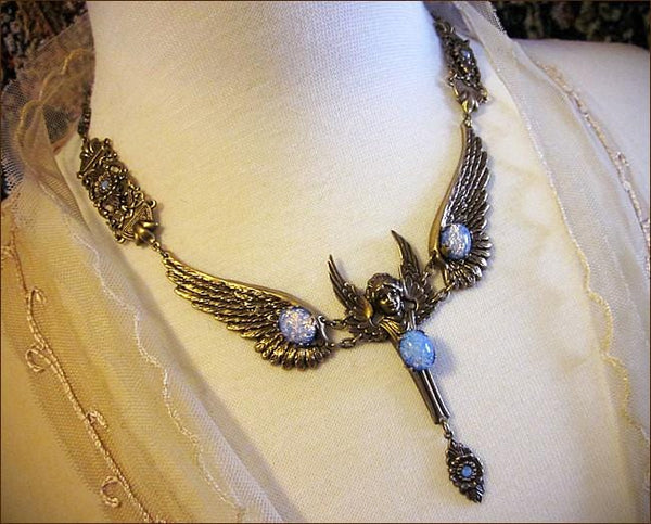 Valkyrie Necklace - Sky Blue Opal Art Glass - Antiqued Brass - Rabbitwood & Reason