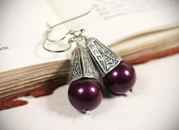 Windsor Pearl Drop Earrings in Blackberry Pearl - Antiqued Silver - by dosha of Rabbitwood & Reason