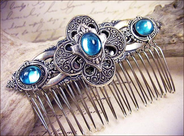 Avebury Comb - Aquamarine - Antiqued Silver - Rabbitwood & Reason