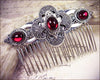 Avebury Comb - Ruby - Antiqued Silver - Rabbitwood & Reason
