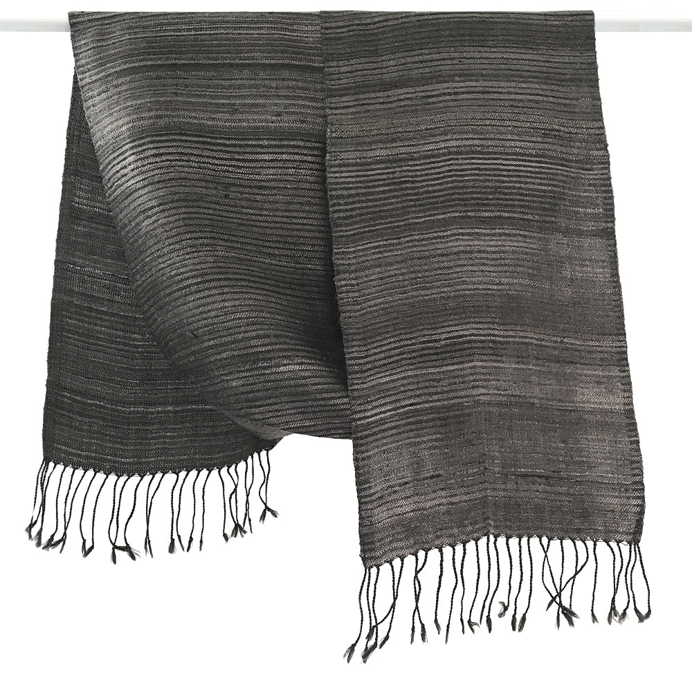 Avani Silk & Wool Scarf in Elegant Grey Stripes