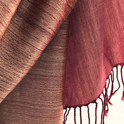 Avani Wild Silk Large Shawl in Frosted Maroon Red