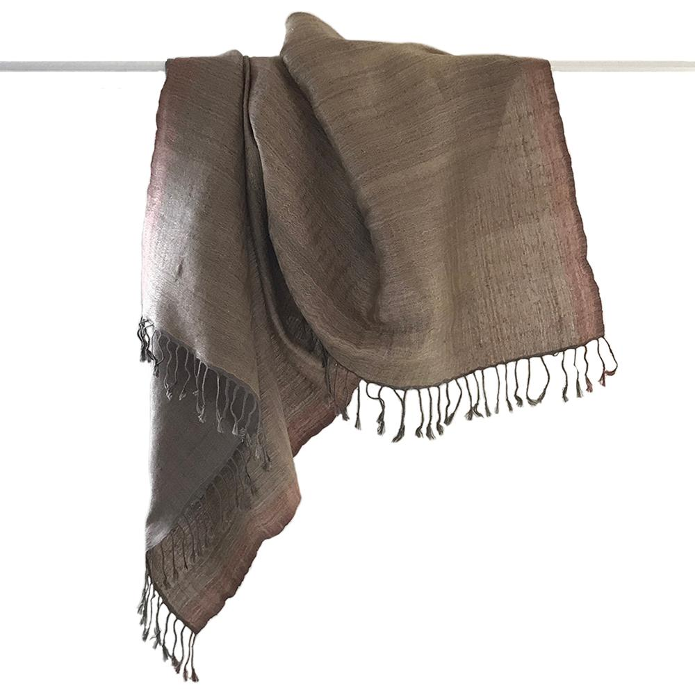 Avani Wild Silk Shawl in Frosted Slate with Copper Border