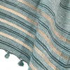 Avani Wild Silk Shawl in Slate Blue & Gold Stripes